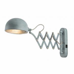 GLOBO Nástenná lampa, kov, sivá, nastaviteľná, vypínač, ŠxV: 130x230, H: 570, bez 1xE14 40W 230V. Nástenné svietidlo