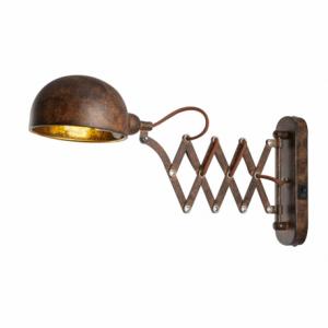 GLOBO Nástenná lampa, kov, tmavohnedá, zlatá, nastaviteľná, vypínač, ŠxV: 130x230, H: 570, bez 1xE14 40W 230V. Nástenné svietidl