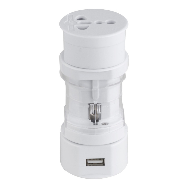 GLOBO Cestovný adaptér, biela, priehľadná, s nabíjacím konektorom USB pre USA-AUS-GBR-EU, Ø 48, V:110.